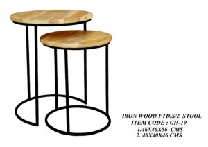 Iron Wood Fitted Set of 2 Stool