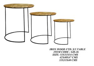 Iron Wood Fitted Set of 3 Table
