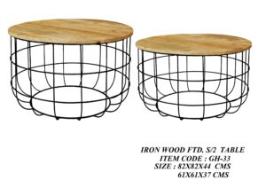 Iron Wood Fitted Set of 2 Table